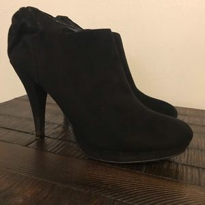 """IMPO Black Suede 4"""" booties with cute bow detail"""